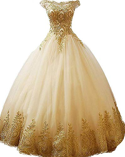 inmagicdress Women Ball Gowns Gold Lace Appplique Quinceanera Dresses Long Sleeves Prom Dresses IMG217 (Quinceanera Dresses)