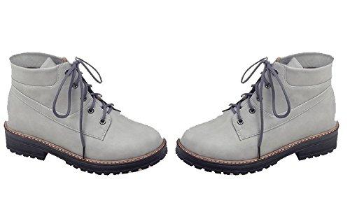 Grigio Grigio Stringata Stivali Punta Shoes Chiusa Tonda Tonda EuX133 Invernali Donna AgeeMi Bassi qvFA0H