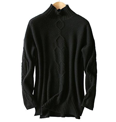 VenuStar women's Tunic Sweater dress outwear cashmere&wool Turtleneck drop shoulder pullover for leggings (L, Black) (Drop Wool Shoulder Blend)