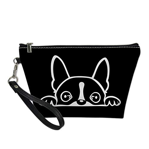 HUGS IDEA Lovely Boston Terrier Cosmetic Bags Pu Leather Black Makeup Pouch Coin Purse Clutch Pen Bag
