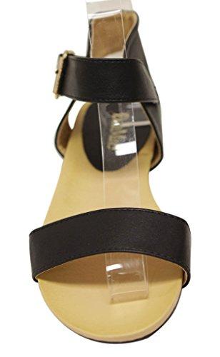 Bella Marie Birken-16 Womens open toe buckle ankle strap low wedge slingback sandals Black t3vtjI