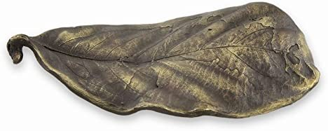 NOVICA Medium Elongated Leaf Bronze Figurine