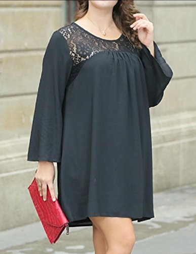 Baggy Black Chiffon Lace Dress Women Coolred Casual Trim Oversized Backless ax1qW4w7