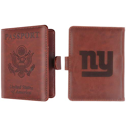 (CHNNFC NFL Premium Brown Leather Laser Carving Travel Wallet (New York Giants))