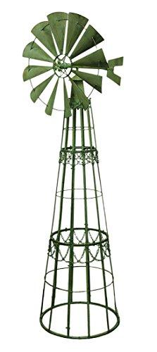 Metal Garden Stakes Green Verdigris Giant Metal Garden Windmill Lawn  Ornament 7 Foot 35 X 88