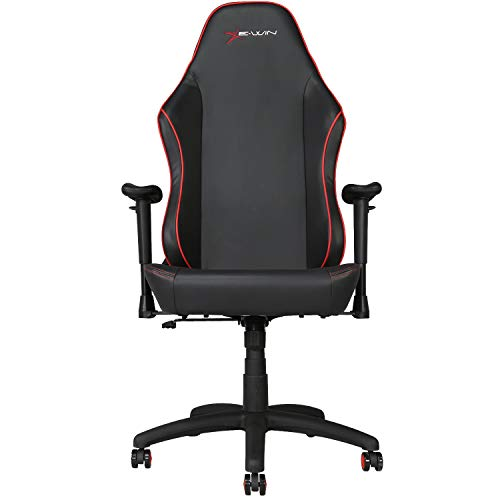 E-WIN Gaming Office Chair with Wide Seat Ergonomic High Back Racing Style   Multi Functions Adjustable Computer Chair (Knight Series Red)