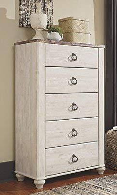 Shilpi Handicrafts Sheesham Wooden Chest of Drawers in Antique White Color for Living Room