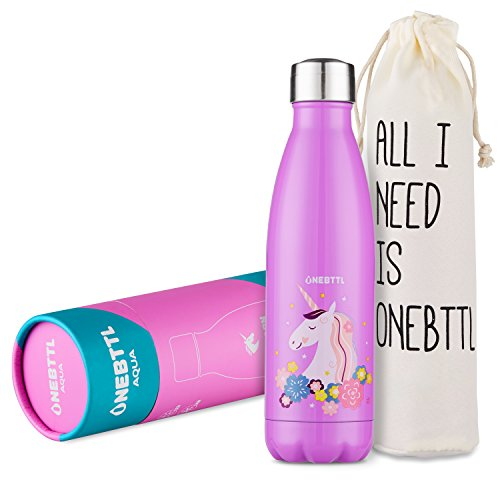 Unicorn Gifts, Unicorn Party Supplies, Stainless Steel Water Bottle (17oz/500ml), Double Wall Vacuum Insulated Thermo Bottle for Unicorn Party and Birthdays - Onebttl Aqua UnicornPower - Horse Friends Diary