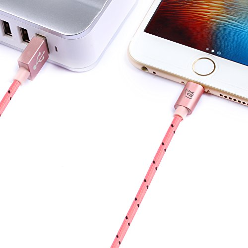 LAX Gadgets Extra Long Apple MFi Certified Nylon Lightning Cable Cord | 6 Ft - Pink by LAX Gadgets (Image #8)