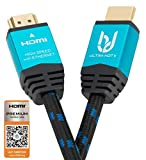 4K HDMI 2.0b Cable by Ultra HDTV 2m I Premium High Speed Lead I 4K@60Hz (no stuttering!) I Nylon Braided, Metal Adapters, Ethernet, 3D, HDR, ARC