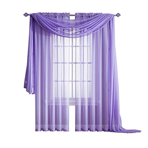 Warm Home Designs Standard Length Lilac Purple Sheer Window Scarf. Valance Scarves are 56 X 144 Inches in Size. Great As Window Treatments, Bed Canopy Or for Decorative Project. Color: Lilac 144 For Sale