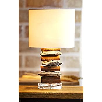 Martin richard w 8971 metal table lamp 19 natural stone and othentique driftwood table lamp with stone rustic wood natural reclaimed white fabric mozeypictures Gallery
