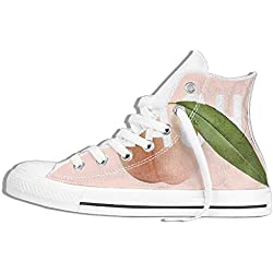 NAFQ Peach Pink Fruit Classic Canvas Sneakers Shoes Lace Up Unisex High Top