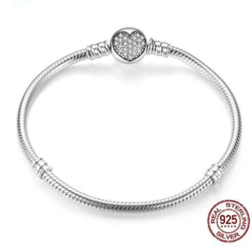 Original 925 Sterling Silver Moments Pave Heart Clasp with Crystal Pan Bracelet Bangle Fit Bead Charm DIY Europe Jewelry,3,19cm