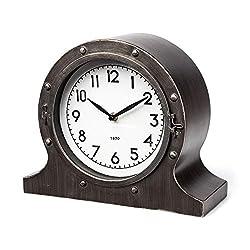 Mercana Furniture & Decor Nautical Inspired Camden by Mercana Table Clocks, 12.0L x 5.3W x 10.0H, Rustic Brown