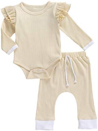 SAM PERKINS Newborn Baby Girls Knit Cotton Fall Winter Clothes Toddler Kids Ruffle Shirt Tee Pants 2Pcs Pajama Set Outfits