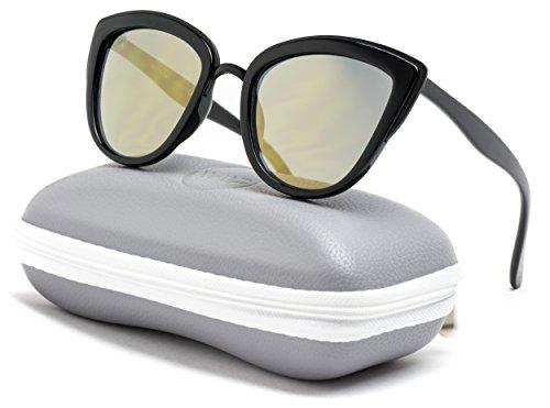Womens Cat Eye Mirrored Reflective Lenses Oversized Cateyes Sunglasses (Black Frame/Gold Frame, 54)