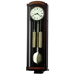 35-inch Solid Wood Chocolate Walnut Pendulum Wall Clock with Hourly Westminster Chime and Strike, Night off - P00048