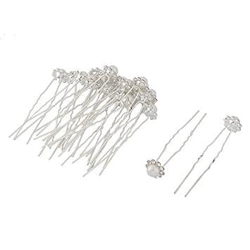 eDealMax Metal de las Mujeres en Forma de U Con incrustaciones de perlas de imitación del