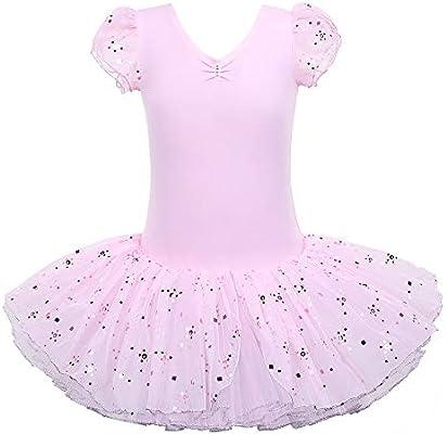 BAOHULU Ballet Leotard for Girls Ruffle SleeveTutu Skirted Ballerina Dance Costumes