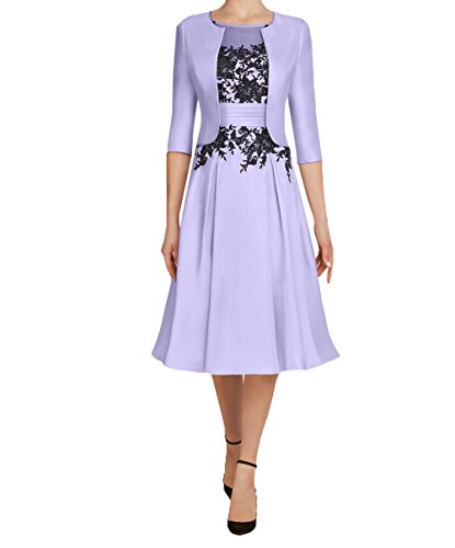 Abendkleider Langarm Festlichkleider 3 2018 Damen Brautmutterkleider Kurzes Lilac Charmant 4 Knielang mit Partykleider Bolero vRqZ4nXx