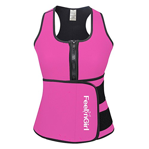 FeelinGirl Women's Vest Sport Girdle Waist Trainer Trimmer L,Large,Pink