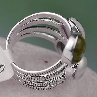 Crystalcraftindia 925 Sterling Silver Jewelry Peridot gemstone rings Size 7 US 2.63 g