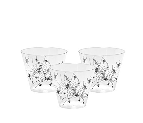 Party Essentials N92042 20 Count Hard Plastic 9 oz Spider Print Halloween Party Cups/Tumblers, (Halloween Cups And Plates)