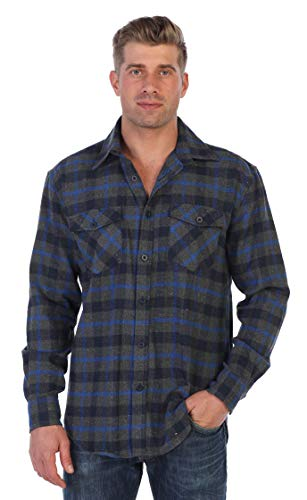 Gioberti Men's Plaid Checkered Brushed Flannel Shirt, Navy/Gray/Royal Blue Contrast Line, Size ()