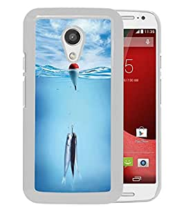 Motorola Moto G (2nd generation) Case,100% brand new Fish On A Hook White Case For Motorola Moto G (2nd generation)