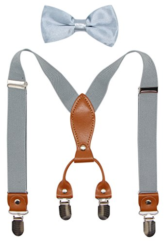 Suspenders & Bowtie Set for Kids and Baby - Adjustable Elastic X-Band Strong Clips Braces (Light Grey) ()