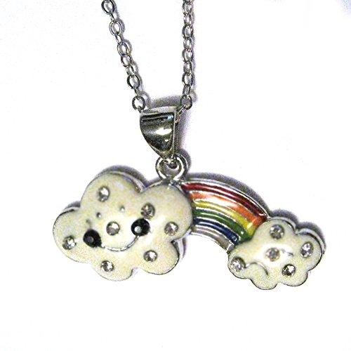 Gay Pride Happy Cloud Rainbow Silver Plated Crystal Charm 16
