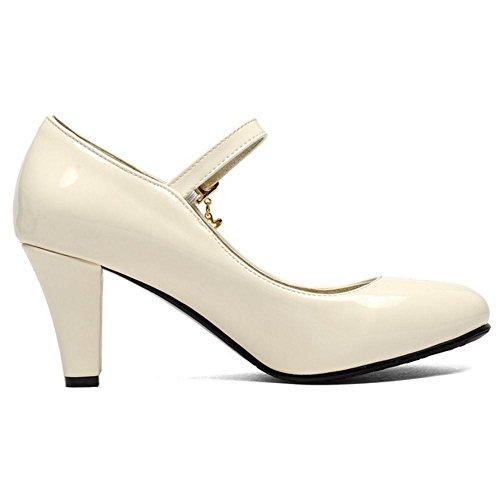 Beige Cheville Taoffen De Talon Chaussures De Femmes Bride Cour De Haut De fZqwP7H