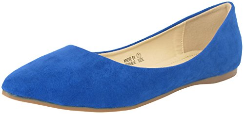 Bella marie Angie-53 Women's Classic Pointy Toe Ballet PU Slip On Suede Flats Royal Blue 6.5