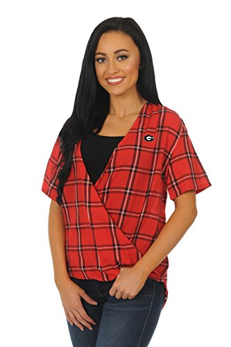 - UG Apparel NCAA Georgia Bulldogs Adult Women Short Sleeve Plaid, Small, Red/Black