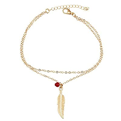 AMDXD Women Gold Plated Anklet 2 Layers Feather Red Bead Beach Foot Chain