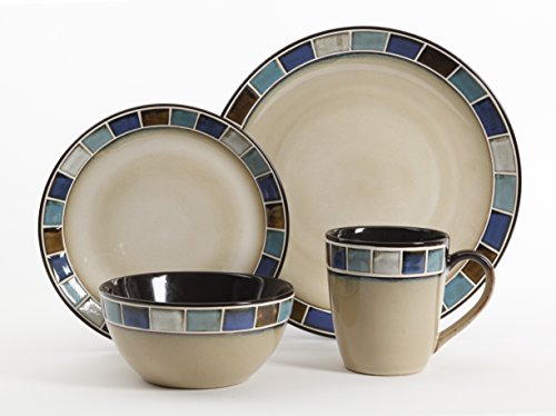 Gibson Elite Casa Azul Reactive Glaze 16 Piece Dinnerware Set, Cream and (Blue Glaze)