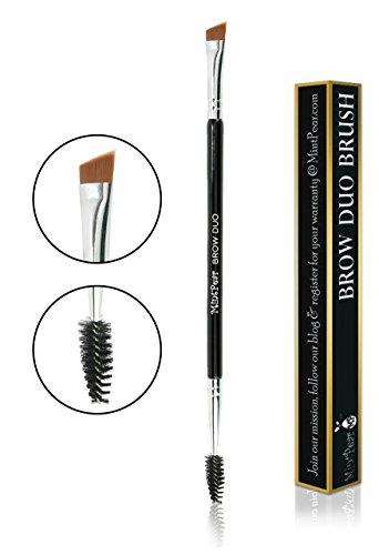 Eyebrow Duo Brush by MintPear-Premium Quality Angled Brush & Spoolie for Brow, Eyeshadow, Eyeliner and Lashes- Cosmetic Tool to Apply Brow Gel & Powder and create the perfect thick brows