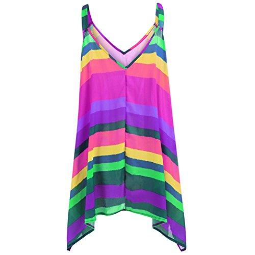 Pervobs Tank Tops, Clearance! Women Plus Size Stripe Pullover Sleeveless Irregular Vest Tank Shirt Tops Blouse (M, Purple)