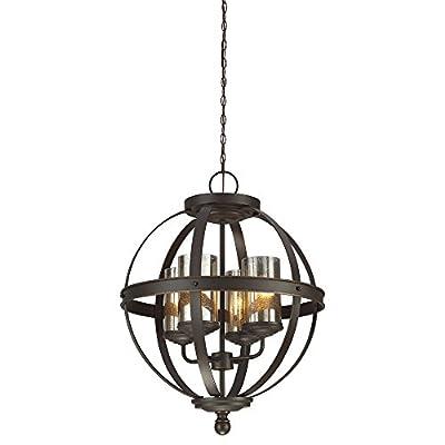 Sea Gull Lighting 3110404-715, Sfera Glass Chandelier Lighting, 4 Light, 300W, Bronze