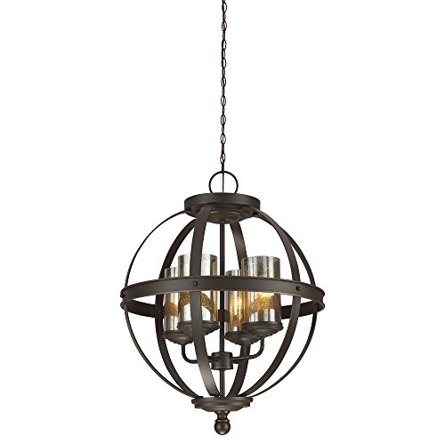 Sea Gull Lighting 3110404-715 Sfera Four-Light Chandelier with Mercury Glass, Autumn Bronze Finish Old Bronze Finish Chandeliers