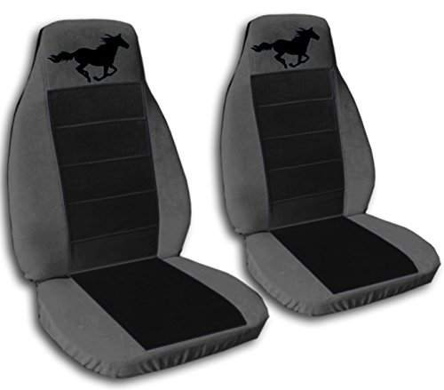 2008 2009 2010 2011 2012 Ford Mustang Seat Covers Charcoal and Black with a Horse Side Airbag Friendly. Fists Convertible Coupe and GT's Will Not Fit a 2012 Convertible Ford Mustang Air Bag