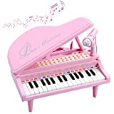 BAOLI Piano Keyboard Birthday Gift Toddler Multi Functional Electronic Instrument - Musical Toy with Microphone 31 Keys (Pink, Medium)