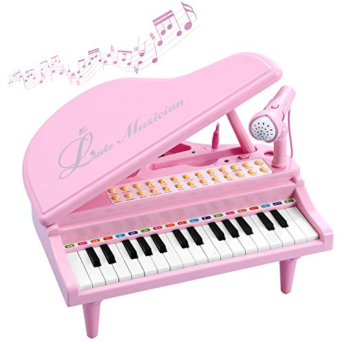 BAOLI Piano Keyboard Birthday Gift Toddler Multi Functional Electronic Instrument – Musical Toy with Microphone 31 Keys (Pink, Medium)