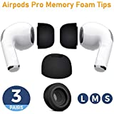 Canopus Memory Foam Replacement Earbud Tips, Compatible with AirPods Pro to Avoid Falling Off, 3 Pairs (Small, Medium, Large), Black