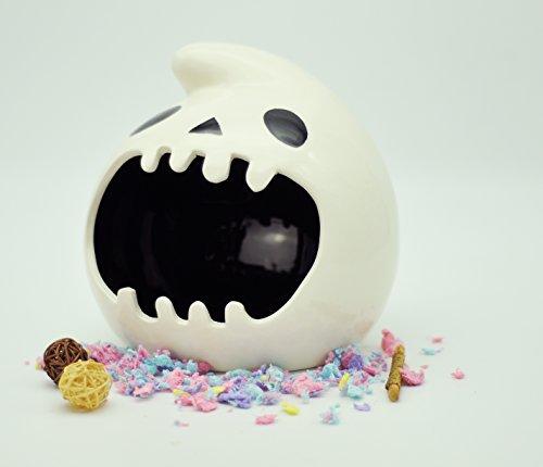 Niteangel Ceramic Small Animal Hideout & Bath Pot, Hamsters Gerbils and Rats Home (Ghost, 6.25'' x 6.25'' x 5.5'' (W x D x H))