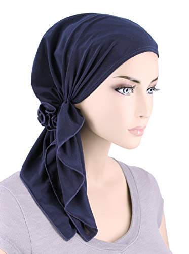 The Bella Scarf Chemo Turban Head Scarves Pre-Tied Bandana for Cancer Navy Blue by Turban Plus