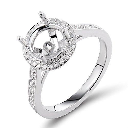 Fashion 8mm Round Diamond Semi Mount Engagement Wedding Ring set 14K White Gold