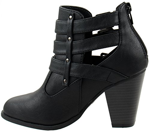 Image of Forever Shoes Women's Camila-62 Short Ankle Riding Boots Chunky Heel Three Buckled Strap