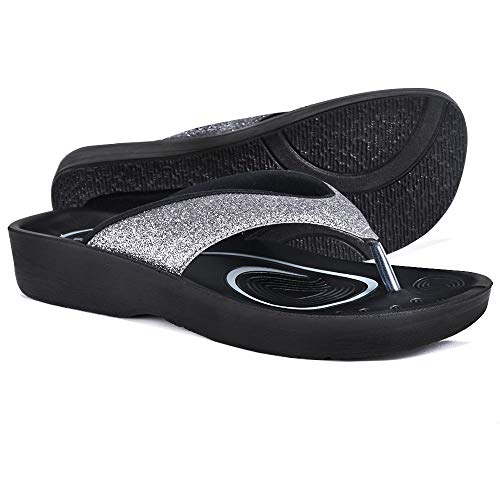 AEROTHOTIC Original Orthotic Comfort Thong Sandal and Flip Flops with Arch Support for Comfortable Walk (US Women 9, Crystal Grey)
